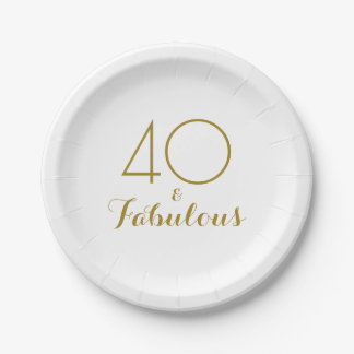 Elegant Gold 40 and Fabulous Birthday Party Plates