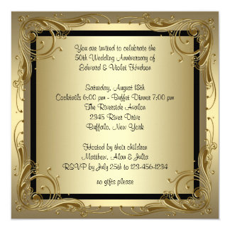 "Elegant Gold 50th Wedding Anniversary Party 5.25"" Square Invitation Card"