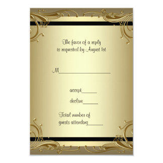 "Elegant Gold 50th Wedding Anniversary Party RSVP 3.5"" X 5"" Invitation Card"