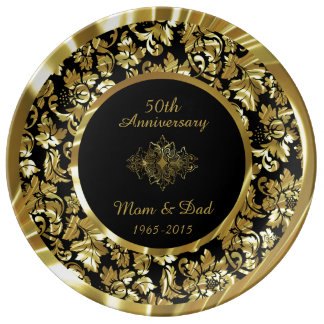 Elegant Gold And Black 50th Wedding Anniversary Porcelain Plate