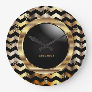 Elegant Gold and Black Chevron Design Large Clock