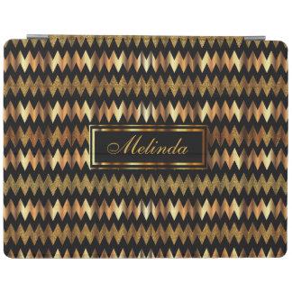 Elegant Gold and Black Chevron Pattern iPad Cover