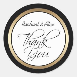 Elegant Gold and Black Custom Thank You Round Sticker
