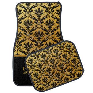 Elegant Gold and Black Damask Monogram Car Mats Floor Mat