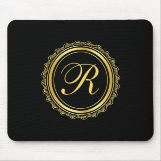 Elegant Gold and Black Medallion Monogram Mouse Pad