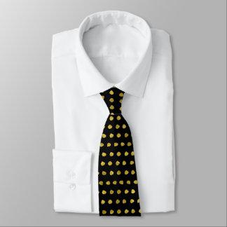 Elegant Gold and Black Small Polka Dots Pattern Tie