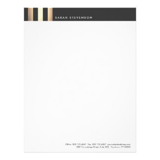 Elegant Gold and Black Striped DesignerLetterhead Letterhead