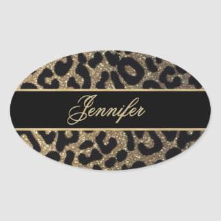 Elegant Gold and Blue Leopard Print Oval Sticker