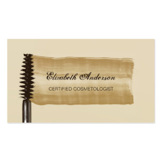 Elegant Gold and Brown Mascara Cosmetologist Business Card