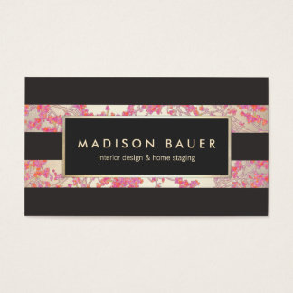 Elegant Gold and Dark Brown Stripes Pink Floral Business Card