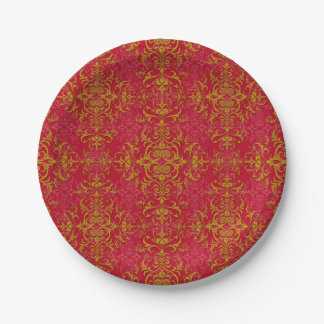 Elegant Gold and Deep Pink Floral Damask Pattern Paper Plate