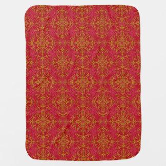 Elegant Gold and Deep Pink Floral Damask Pattern Swaddle Blankets