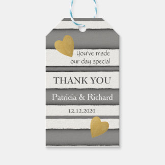 Elegant Gold And Gray Wedding Thank You Gift Tags