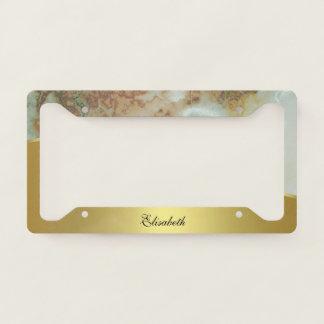 Elegant Gold and Green Marble Monogram Licence Plate Frame