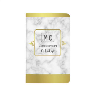 Elegant Gold and Marble Art Deco | Custom Monogram Journal