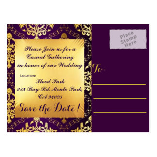 Elegant Gold and Plum Save the Date Postcards