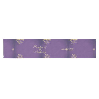 Elegant Gold and Purple Wedding Table Runner