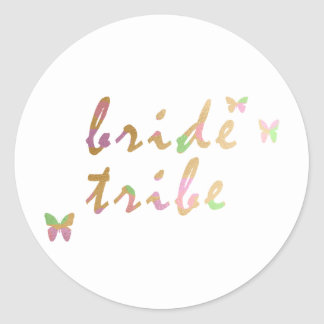 elegant gold and rose gold Bride Tribe Classic Round Sticker