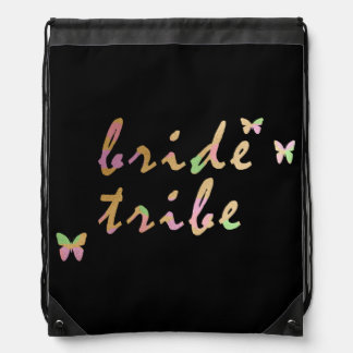 elegant gold and rose gold Bride Tribe Drawstring Bag