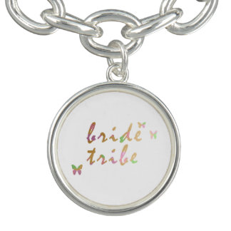 elegant gold and rose gold foil Bride Tribe Bracelet
