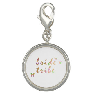 elegant gold and rose gold foil Bride Tribe Photo Charms