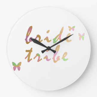 elegant gold and rose gold foil Bride Tribe Wall Clocks