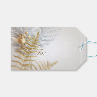 Elegant Gold and Silver Bird and Leaves Festive Gift Tags