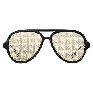 Elegant Gold and White Greek Key Pattern Party Sunglasses