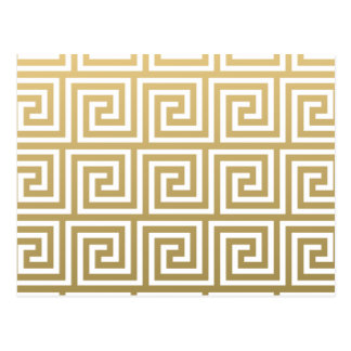 Elegant Gold and White Greek Key Pattern Postcard