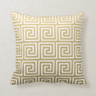 Elegant Gold and White Greek Key Pattern Throw Pillow
