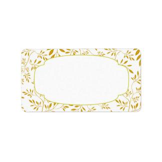 Elegant Gold and White Leaves Label