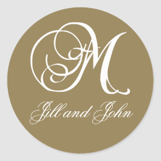 Elegant Gold and White Monogram M Names Stickers