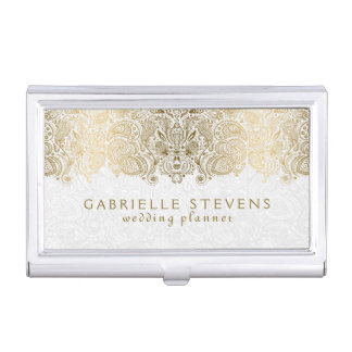 Elegant Gold And White Paisley 2 Wedding Planner Business Card Holder