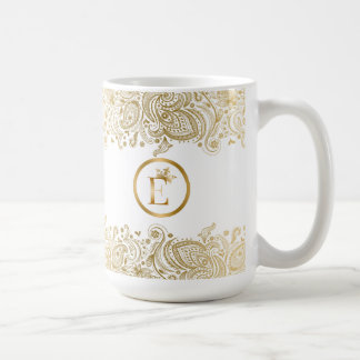 Elegant Gold And White Paisley Monogram Coffee Mug