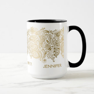 Elegant Gold And White Paisley Mug