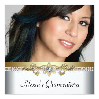 "Elegant Gold and White Photo Quinceanera 5.25"" Square Invitation Card"
