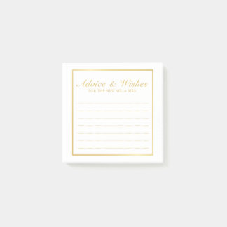 Elegant Gold and White Wedding Advice and Wishes Post-it® Notes