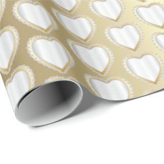 Elegant Gold and White Wedding Hearts Wrapping Paper