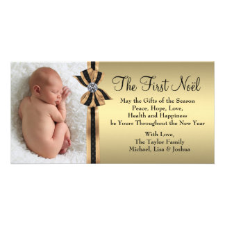 Elegant Gold Baby's First Christmas Photo Greeting Card