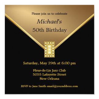 Elegant Gold Black 50th Birthday Party Invitations