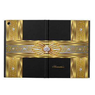 Elegant Gold Black Diamond Bow Jewel Image iPad Air Cover