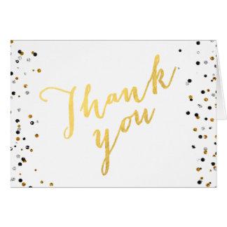 Elegant Gold Black Faux Glitter Script Thank You Card