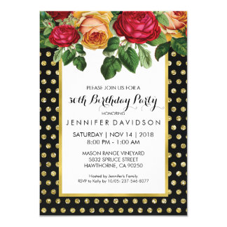 ELEGANT GOLD BLACK FLORAL BIRTHDAY PARTY CARD