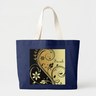 Elegant Gold & Black  Flower Scroll Name Bag