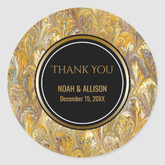 Elegant Gold Black | Formal Wedding Favor Classic Round Sticker