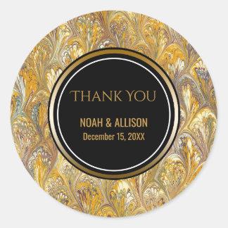 Elegant Gold Black   Formal Wedding Favor Round Sticker