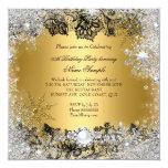 "Elegant Gold Black Lace Silver Snowflake Birthday 5.25"" Square Invitation Card"