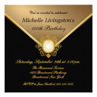 Elegant Gold Black Ladies Party Invitations