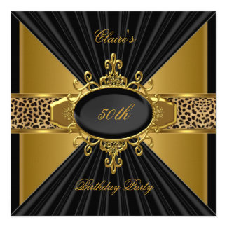 "Elegant Gold Black Leopard 50th Birthday Party 5.25"" Square Invitation Card"