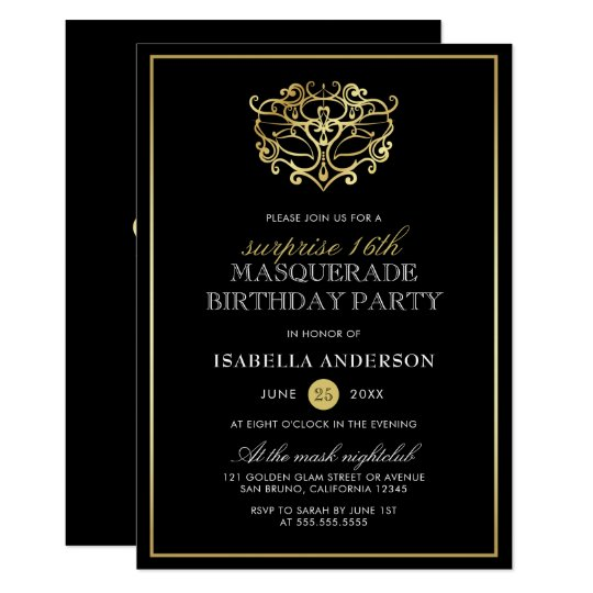 Elegant Gold & Black Masquerade Surprise Party Card